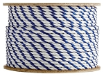3 Strand Twisted White / White / Blue Polypropylene 300-ft. x 3/4-inch - 2 Spools