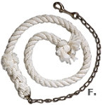 Cotton Lead Rope with 24-inch Lead Chain 3-ft. x 3/4-inch